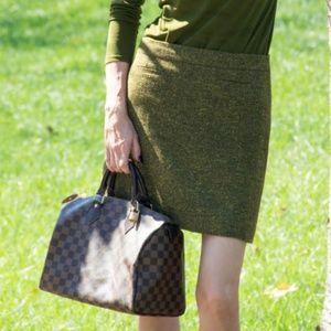 Ann Taylor LOFT Green Tweed Mini Skirt Size 12